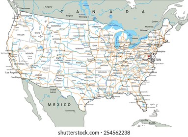 High detailed United States of America road map with labeling.