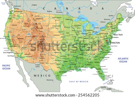 Labeled Map Of The United States Of America.High Detailed United States America Physical Stock Vector Royalty