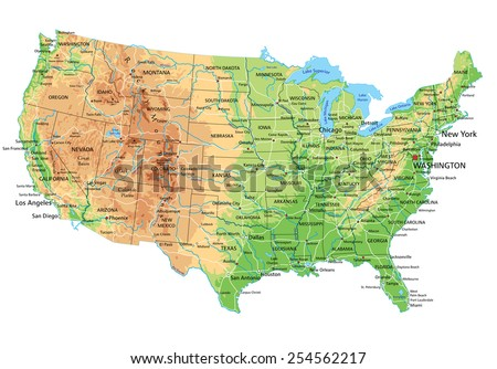 United States Map Detailed.High Detailed United States America Physical Stock Vector Royalty