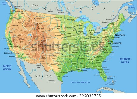 High Detailed United States America Physical Stock Vector (Royalty ...