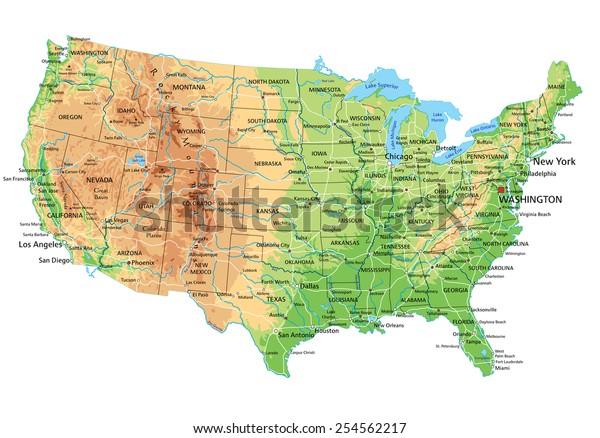 Cartina Geografica Fisica Degli Usa.Immagine Vettoriale Stock 254562217 A Tema Alta Dettagliata Mappa Fisica Degli Stati Royalty Free
