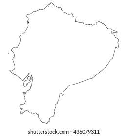 High detailed vector contour map - Ecuador