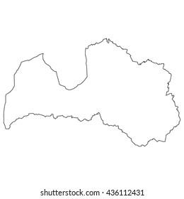 High detailed vector contour map - Latvia