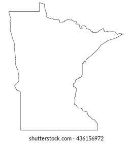 High detailed vector contour map - Minnesota