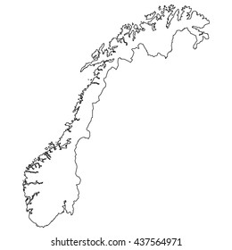 High detailed vector contour map - Norway
