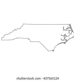 High detailed vector contour map - North Carolina