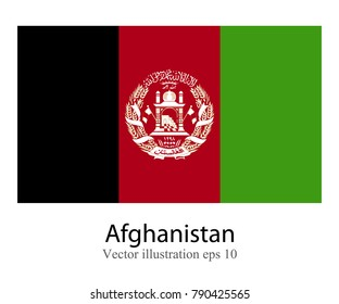 High Detailed vector flag of Afghanistan isolated on white background. Vector illustration eps 10.