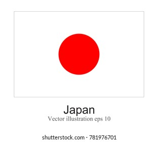 High Detailed vector flag of Japan isolated on white background. Vector illustration eps 10.