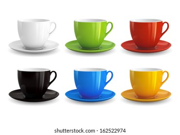 High detailed vector illustration of colorful cups isolated on white background