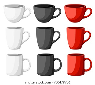 High detailed vector illustration of colorful cups isolated on white background Web site page and mobile app design