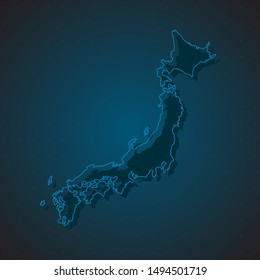 High detailed vector Japan country outline border map isolated on background. State template japanese islands trip pattern, report, infographic, backdrop. Asia nation business silhouette sign concept.