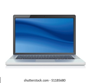 High detailed vector laptop with abstract blue background on screen.