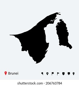 High detailed vector map of Brunei with navigation pins.