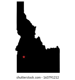 High detailed vector map with the capital city - Idaho