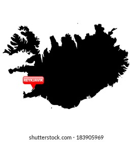 High detailed vector map with the Capital in a red bubble - Iceland