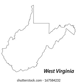 High detailed vector map with contour - West Virginia