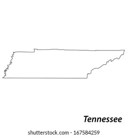 High detailed vector map with contour - Tennessee