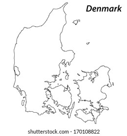 High detailed vector map with contour - Denmark