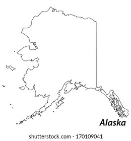 High detailed vector map with contour - Alaska