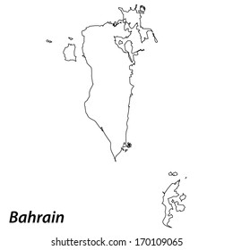 High detailed vector map with contour - Bahrain