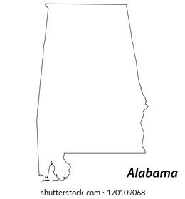 High detailed vector map with contour - Alabama