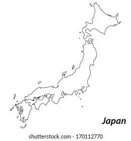 High detailed vector map with contour - Japan