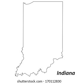 High detailed vector map with contour - Indiana