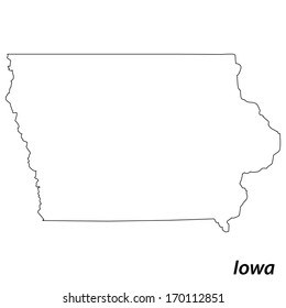 High detailed vector map with contour - Iowa