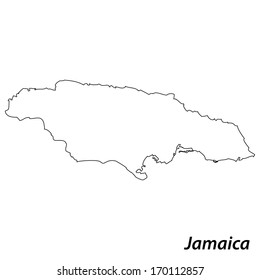 High detailed vector map with contour - Jamaica