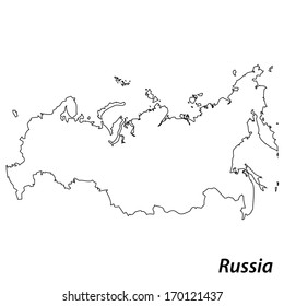 High detailed vector map with contour - Russia
