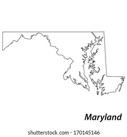 High detailed vector map with contour - Maryland