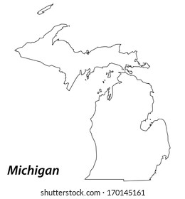 High detailed vector map with contour - Michigan