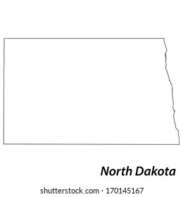 High detailed vector map with contour - North Dakota