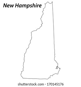 High detailed vector map with contour - New Hampshire