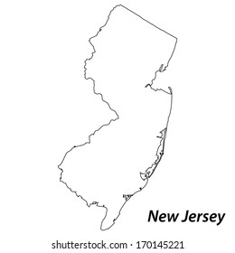 High detailed vector map with contour - New Jersey