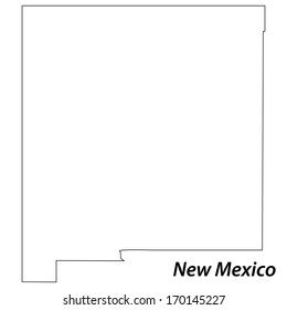 High detailed vector map with contour - New Mexico