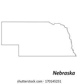 High detailed vector map with contour - Nebraska
