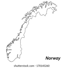 High detailed vector map with contour - Norway