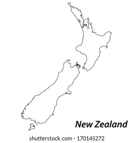 High detailed vector map with contour - New Zealand