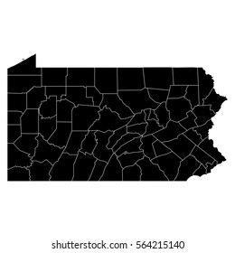 High detailed vector map with counties - Pennsylvania
