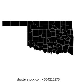 Oklahoma Map Showing Counties.Map Oklahoma Stock Vector Royalty Free 554328553 Shutterstock