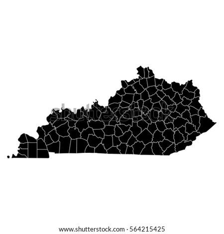 High Detailed Vector Map Counties Kentucky Stock Vector (Royalty ...