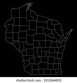 High detailed vector map with counties/regions/states - Wisconsin