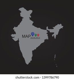 High detailed vector map with counties/regions/states - India, Black Flag Map of India. - Vector