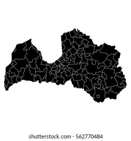 High detailed vector map with counties/regions/states - Latvia