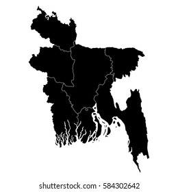 High detailed vector map with counties/regions/states - Bangladesh