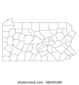 High detailed vector map with counties/regions/states - Pennsylvania