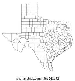 High detailed vector map with counties/regions/states - Texas