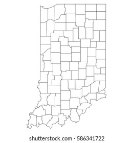 High detailed vector map with counties/regions/states - Indiana