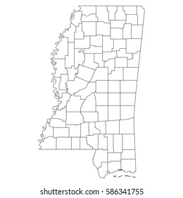 High detailed vector map with counties/regions/states - Mississippi
